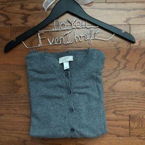 LOFT Medium Gray Cardigan Excellent Condition